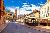 Piazza Delle Erbe In Verona Street And Market View poster