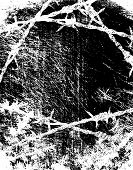 image of barbed wire fence  - Grunge vector background ilustration of barbed wire - JPG