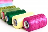 stock photo of rayon  - Embroidery yarn bobbins - JPG
