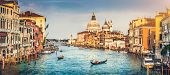 Panoramic View Of Famous Canal Grande And Basilica Di Santa Maria Della Salute At Sunset In Venice, poster
