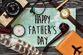Happy Fathers Day Text Sign On Compass And Glasses Pipe Watch Wallet On Black  Wooden Background To poster