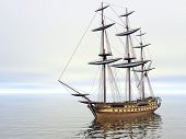 stock photo of sloop  - ship in the sea with no sails - JPG