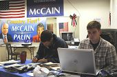 PENSACOLA, FLA - OCT 22: Volunteers at the Veterans for McCain campaign office in Pensacola, Florida