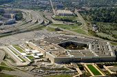Aerial of the Pentagon, the Department of Defense headquarters in Arlington, Virginia, near Washingt