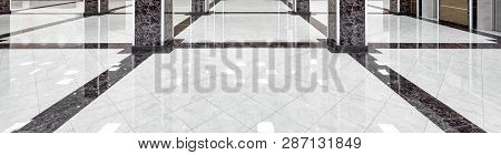 poster of Marble Floor Of A Luxury Lobby Of Company Or Hotel. Panorama Of A Cleaned Washed Floor In Corporate