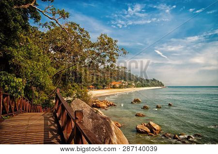 poster of Stunning Nature Of Kuantan. Best Kuantan Beach Resorts Famous For Pristine Nature. Coastline With Tr