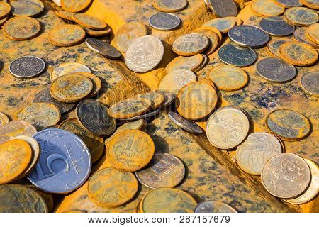 Rusty Coins Of Russian Ruble