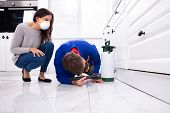 Woman Looking At Male Pest Control Worker Spraying Pesticide On Wooden Cabinet poster