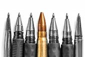 Bullet And Pens On White Background. Freedom Of The Press Is At Risk Concept. World Press Freedom Da poster