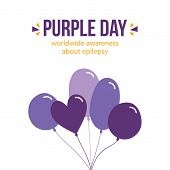 Vector Flat Design Card, Illustration With Purple Balloons About Purple Day, Worldwide Awereness Abo poster