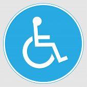 Mandatory Sign: handicapped Door Sign. Handicapped Door Sign Mandatory Sign On A Gray Background poster