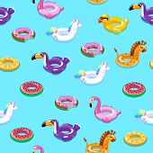 Swimming Toys Seamless Pattern. Pool Floating Summer Inflatable Toy Sea Print Float Kid Fashion Text poster