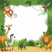 Jungle Animals Card. Frame Animal Tropical Leaves Greeting Baby Banner Zoo Border Template Party Chi poster