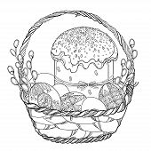 Vector Outline Basket With Easter Cake Or Paska, Ukrainian Easter Egg Pysanka And Willow Twig In Bla poster