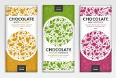 Colorful Packaging Design Of Chocolate Bars. Vintage Vector Ornament Template. Elegant, Classic Elem poster