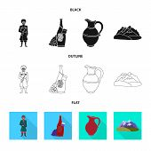 Vector Illustration Of Culture And Sightseeing Sign. Collection Of Culture And Originality Stock Vec poster
