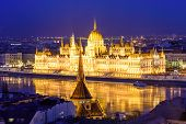 Beautiful Night View Of Budapest. The Parliament And The Danube Promenade At Night Illumination, Bud poster