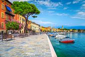 Wonderful Paved Walkway With Colorful Mediterranean Flowers. Luxury Yachts, Boats And Sailing Boats  poster