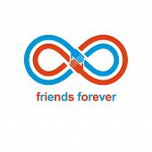 Infinity Sign With Two Hands Touching Each Other, Infinite Friendship Concept, Forever Friends Vecto poster