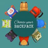 Colored School Backpacks Set. Choose Your Backpack Banner, Poster. Education And Study Back To Schoo poster