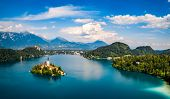 Slovenia - Aerial view resort Lake Bled. poster