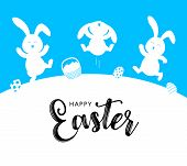 White Rabbit And Easter Egg Basket.  Jumping And Dancing. Cute Bunny. Happy Easter Day, Cartoon Char poster