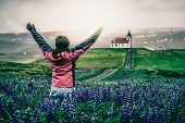 Traveler In Iceland. Church And Lupine Flowers. poster
