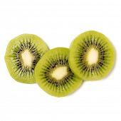 Three peeled kiwi fruit slices isolated on white background closeup. Kiwifruit slices without peel,  poster