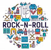 Premium Quality Rocknroll Outline Icons Collection Set.  Music Equipment Linear Symbol Pack. Modern  poster