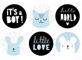 Set Of Lovely Baby Boy Party Vector Decoration. 6 Round Shape Candy Bar Toppers. Blue Bunny And Cat  poster