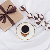 Bouquet Of Flowers - Tulips, Gift And Coffee. poster