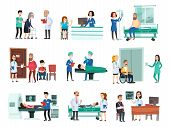 Hospital Patients. Hospitalized Patient On Hospitals Bed, Nurse And Doctor Helping Sick People Isola poster