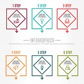 Flat Line Vector Illustration. Infographic Template With Six Elements, Quadrilaterals With Icons. De poster