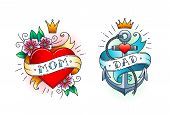 Set Of Classic Tattoo -  Heart With Flowers And Word Mom On Ribbon. Anchor With Rope And Ribbon With poster