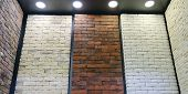 Stand Images Of Decorative Bricks. Bricks And Aerated Concrete Blocks. White Lightweight Concrete Bl poster