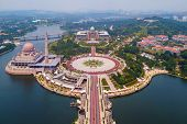 Aerial View Of Putra Mosque With Garden Landscape Design And Putrajaya Lake, Putrajaya. The Most Fam poster