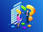 Isometric Survey Concept Banner With Characters. Online Exam, Questionnaire Form, Online Education,  poster