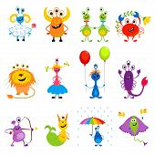 Funny Monsters Horoscope - Illustration Animal, Astrology, Astrology Sign, Backgrounds, Cartoon poster