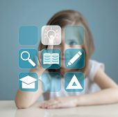 Little Student Girl Choosing Icon On Virtual Touch Screen. Baby Using A Touch Screen Interface. Digi poster