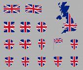 Uk Flag Icon Set, British National Flag Icons, Flag Of United Kingdom - Union Jack poster