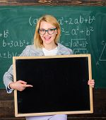 Teacher Hold Blackboard Blank Advertisement Copy Space. Information For Incoming Students. Teacher S poster