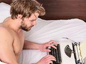 New Day Brings Fresh Ideas. Morning Inspiration. Writer Use Manual Typewriter Daily Work. Man Writer poster