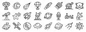 Space Research Technology Icons Set. Outline Set Of Space Research Technology Vector Icons For Web D poster
