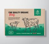 Fine Quality Organic Beef. Vector Meat Packaging Label Design On A Craft Cardboard Box Container. Mo poster