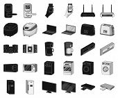 Smart Home Appliances Black, Monochrome Icons In Set Collection For Design. Modern Household Applian poster