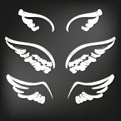 Angel Wings Icon Sketch Collection, Abstract Wings Sketch Set Icon Collection Cartoonhand Drawn Vect poster