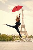 Lady With Umbrella Excited About Visiting Eiffel Tower, Sky Background. Dreams Come True Concept. La poster