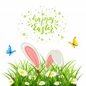 Easter Theme With Bunny Ears In Grass Isolated On White Background. Lettering Happy Easter With Butt poster
