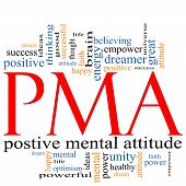 picture of positive thought  - PMA Word Cloud Concept great terms such as Positive Mental Attitude empower faith dream brain and more - JPG