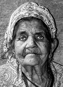 Old Homeless Woman, Close Up Portrait Of Old Homeless Gypsy Beggar Woman With Wrinkled Face Skin Beg poster